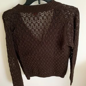 Talbots Petites brown size L open knit sweater